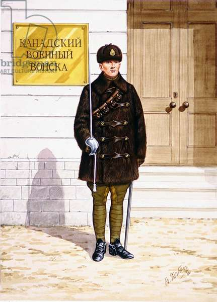 Trooper of 'B' Squadron Royal North-West Mounted Police on service in Siberia, Russia, 1918, 1986 (colour litho)