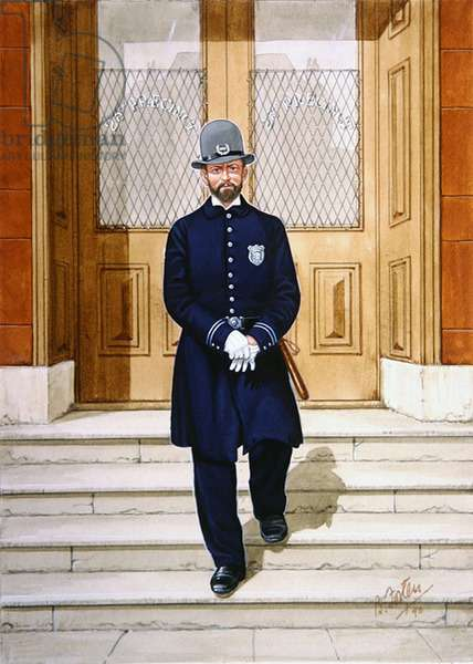 Police Officer in 1880, 1990 (colour litho)