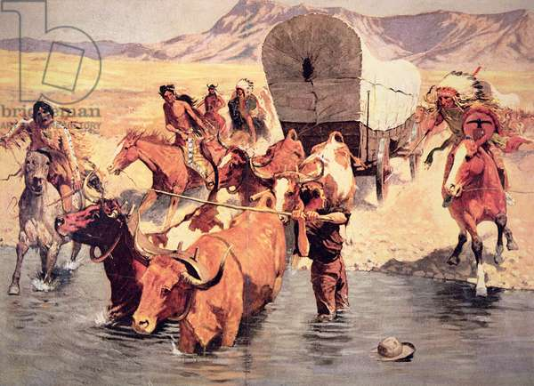 Indians attacking a pioneer wagon train (oil on canvas)