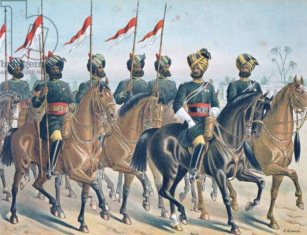 The 2ND Bombay Lancers, review order, Anglo-Indian Army of the 1880s (colour litho)