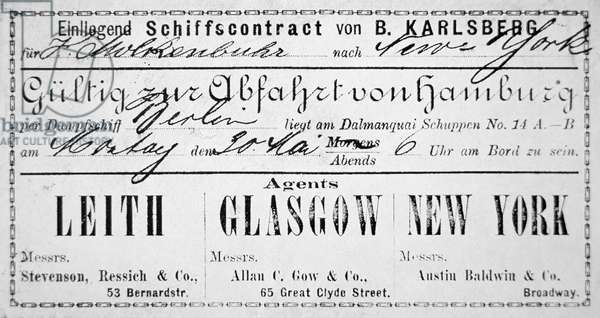 A German immigrant ship's contract & boarding card for New York, issued in Hamburg, 1881 (litho)