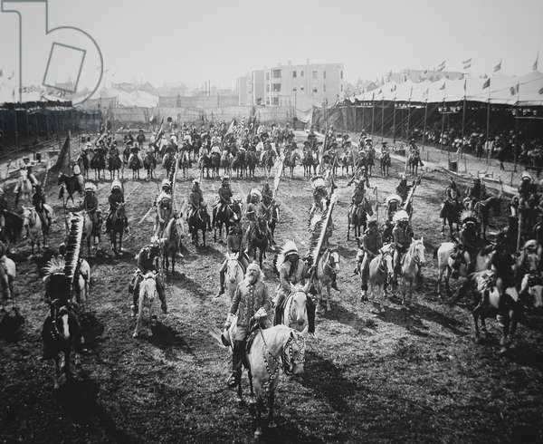 Buffalo Bill (1846-1917) and his riders on parade, Omaha, Nebraska, 1907 (b/w photo)