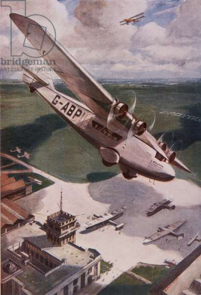 Atalanta monoplane flying over Croydon airport in the 1930s (colour litho)