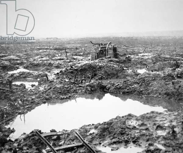 Battlefield near Passchendaele, Flanders, October 1917 (b/w photo)