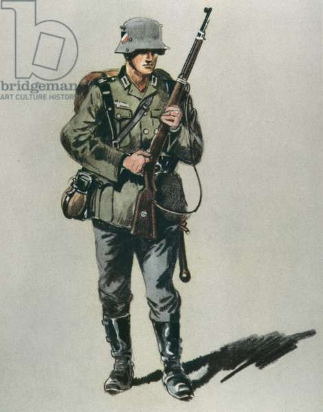 German infantryman in field uniform, 1936 (colour litho)