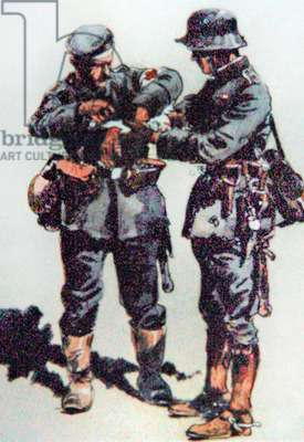 First aid orderly treats a wounded officer on the Western Front, 1918 (colour litho)