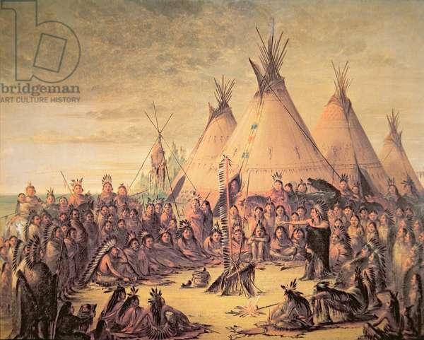 Sioux Indian Council, 1847 (colour litho)