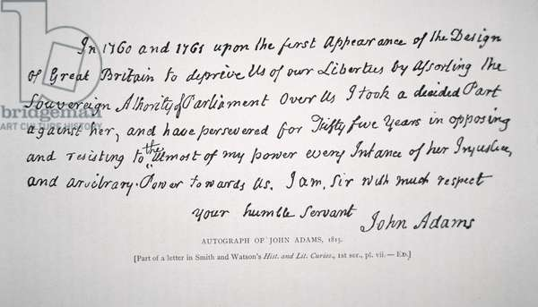 Part of a letter written and signed by President John Adams (1735-1826) 1815 (litho)