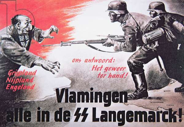 German Waffen SS recruitment poster published in Flanders, April 1944 (colour litho)