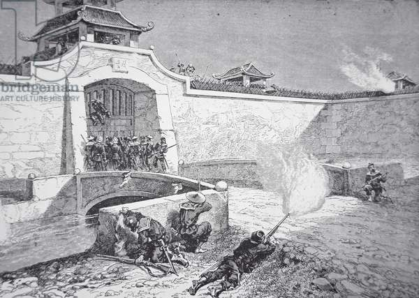 An Imperial Chinese force, led by American General Ward and assisted by Anglo-French troops, stormed the walled city of Kintang, near Shanghai in 1862 during the Taiping Rebellion (litho)