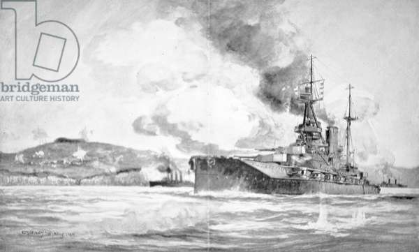 HMS Queen Elizabeth bombarding the Dardanelles defences in 1915 (litho)
