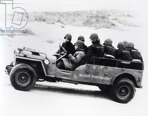 Stretched version of the jeep in service with the U.S. Coastguard shore patrol during the Second World War (b/w photo)