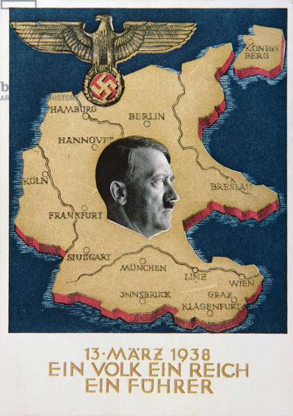 Postcard celebrating the annexing of Austria, 1938 (colour litho)