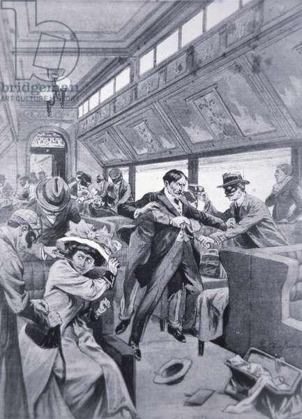 Bandits rob train passengers on the Rocky Mountain Express, near Mudock, 1907 (litho)