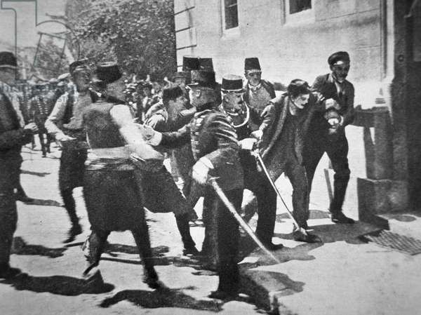 Arrest of the student Gavrilo Princip, the assassin of Archduke Franz Ferdinand and his wife at Sarajevo, 28th July 1914 (b/w photo)