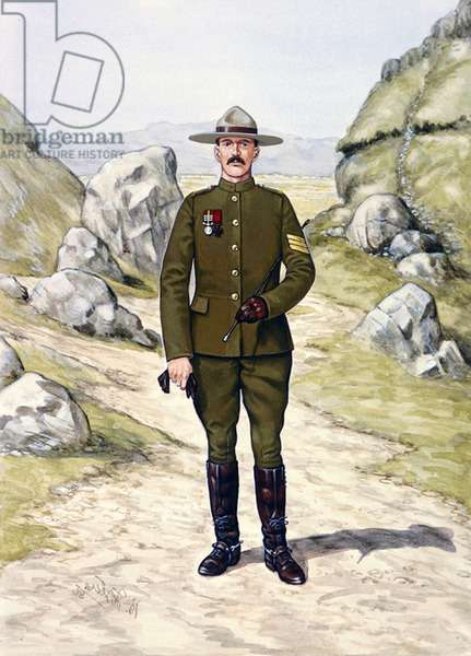 Sergeant A.H. Richardson of North-West Mounted Police wearing uniform of the newly-raised Strathcona's Horse for service in South Africa in 1900, 1986 (colour litho)