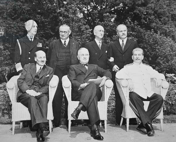 Clement Attlee (1883-1967) President Harry S. Truman (1884-1972) and Joseph Stalin (1879-1953) at the Potsdam Conference, 1945 (b/w photo)
