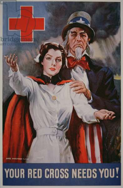 'Your Red Cross Needs You!' World War Two poster, 1942 (colour litho)