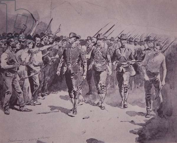 US Pullman Strike, federal troops sent in to maintain order, 1894 (pen & ink on paper)