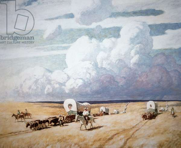 Covered wagons heading west (oil on canvas)