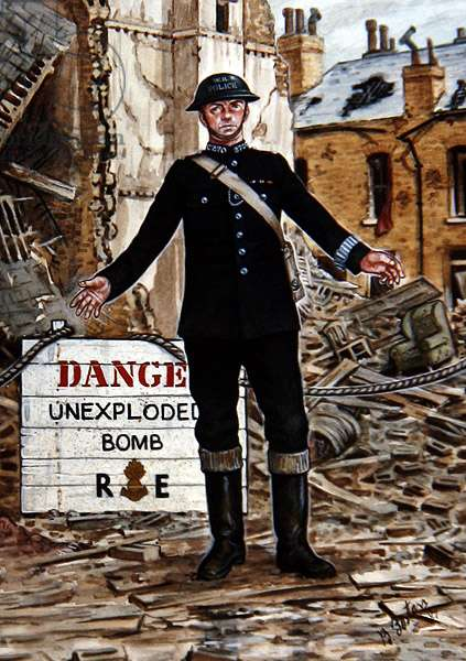 A War Reserve Constable during the Blitz of 1942 (colour litho)