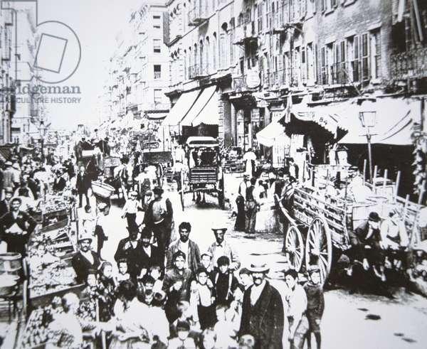 Street market in Mulberry Street, Lower East Side, New York City, 1906 (b/w photo)