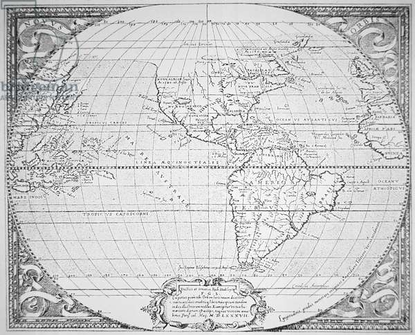 Map of the New World 1587 (litho)