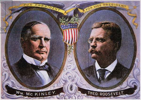 Campaign poster for William Mckinley (1843-1901) as President and Theodore Roosevelt (1858-1919) as Vice-President, 1900 (colour litho)
