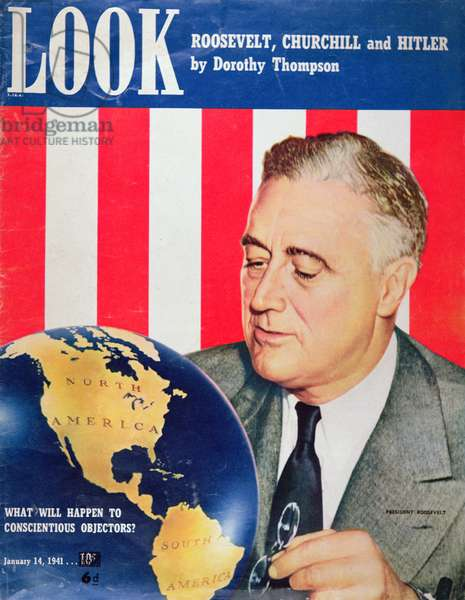 President Franklin D. Roosevelt, from the front cover of 'Look' Magazine, January 1941 (colour litho)
