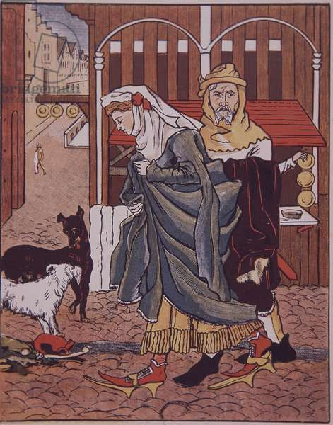 Lady crosses muddy street in medieval market town (colour litho)