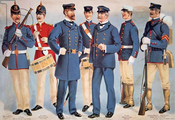 Uniforms of the US Marine Corps, 1899 (colour litho)