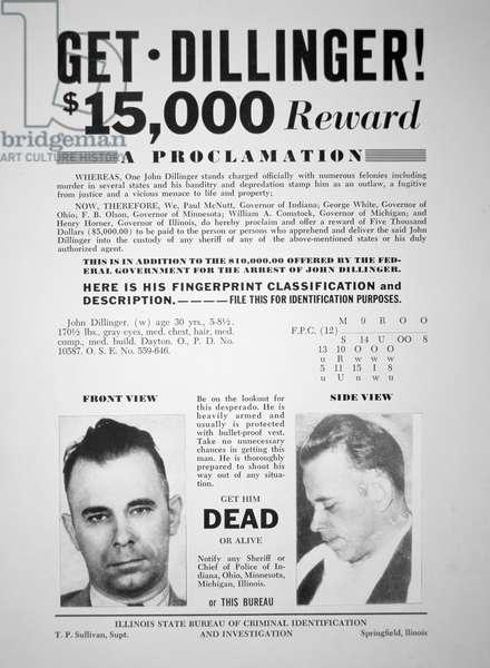 Reward poster for John Dillinger, 1933 (print)