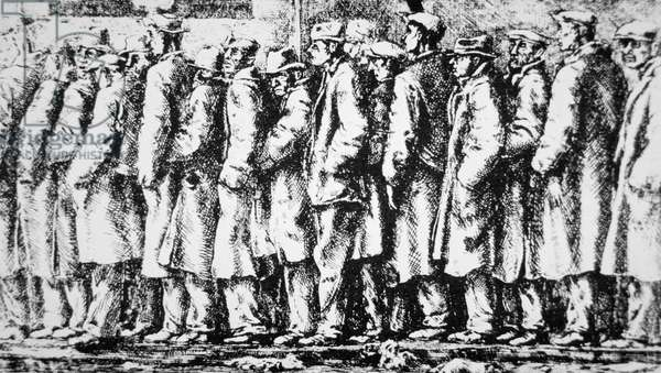 'The Breadline', 1933 (etching)
