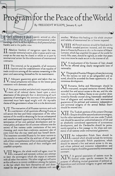 'Program for the Peace of the World' by Woodrow Wilson (1856-1924) 8th January 1918 (print)