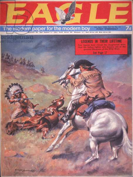 Buffalo Bill Cody's (1846-1917) duel with Chief Yellow Hand, cover illustration from 'Eagle' magazine, 1968 (colour litho)