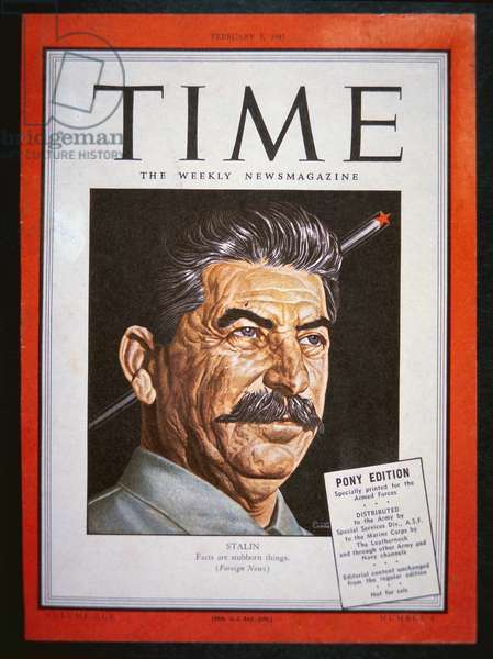 Portrait of Stalin on the cover of 'Time' magazine, 1945 (colour litho)