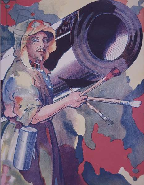 WW1 French military camouflage artist - a camoufleur - paints the barrel of an artillery piece (colour litho)
