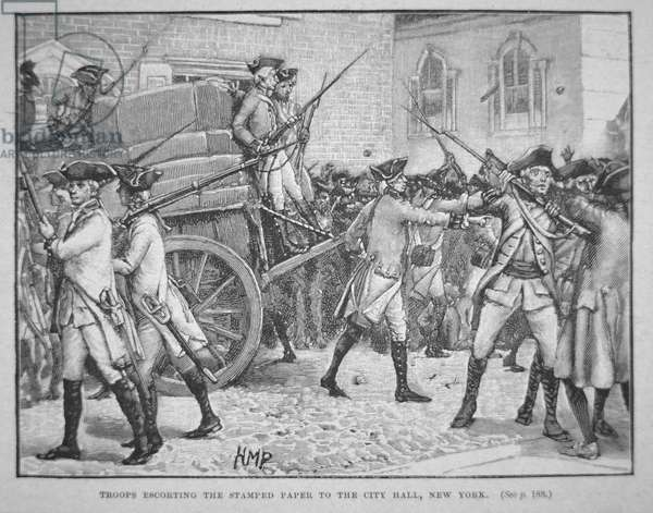 British troops escorting the stamped paper to the City Hall, New York (litho)