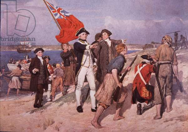 Captain James Cook lands in Australia (colour litho)