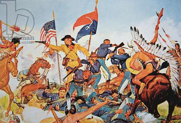 Custer's Last Stand at the battle of Little Bighorn, 25th June 1876 (colour litho)