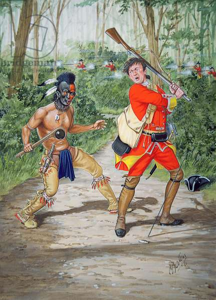 A Huron warrior versus a Private of 44th Regiment of Foot in 1755, from a set of six tableaux, 1991(colour litho)