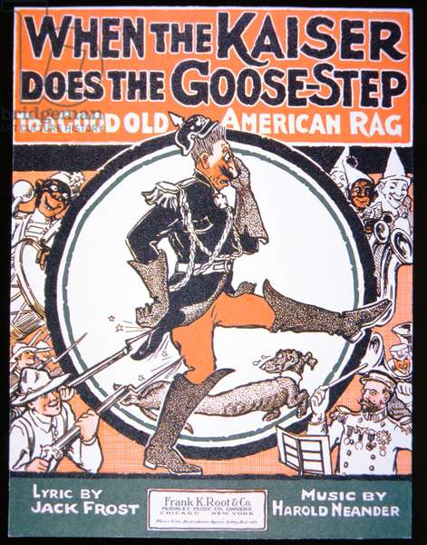 American First World War song sheet, 'When the Kaiser does the Goose Step to a Good American Rag', 1914-18 (colour litho)
