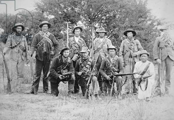 Boer commandos armed with the German Mauser rifle Model 1895 (b/w photo)