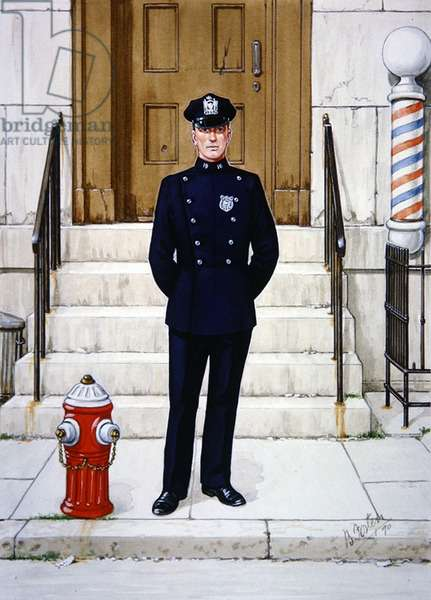 Police Officer in 1943, 1990 (colour litho)
