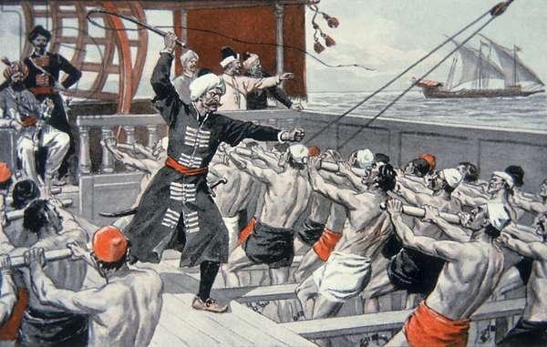 Galley Slaves of the Barbary Corsairs (coloured litho)