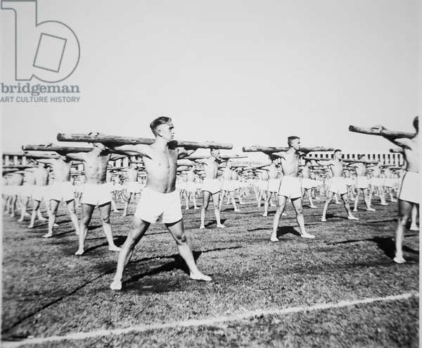 Synchronised Callisthenics in the Zepplinfeld, Nazi Rally, Nuremberg, 1935 (b/w photo)