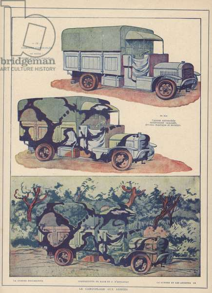 Military truck painted with disruptive pattern camouflage, illustration from 'Le Guerre et les Artistes', published c.1920 (colour litho)