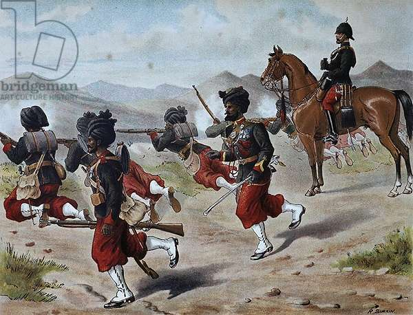 The 20th Bombay Native Infantry Field firing (Marching Order), Anglo-Indian Army of the 1880s (colour litho)