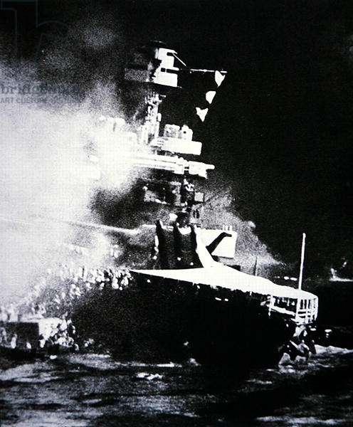 The U.S.S. California sinking, Pearl Harbor, 7th December, 1941 (b/w photo)