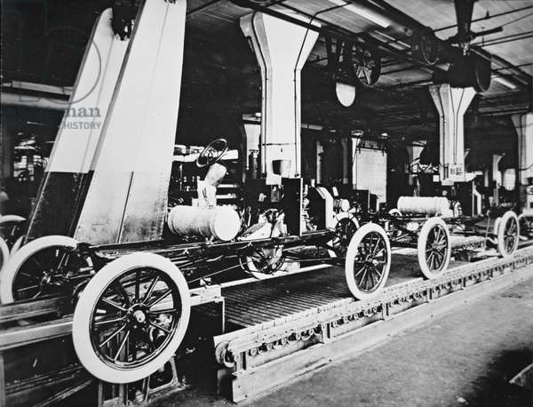 Ford Model T motor car during manufacture, c.1913 (b/w photo)